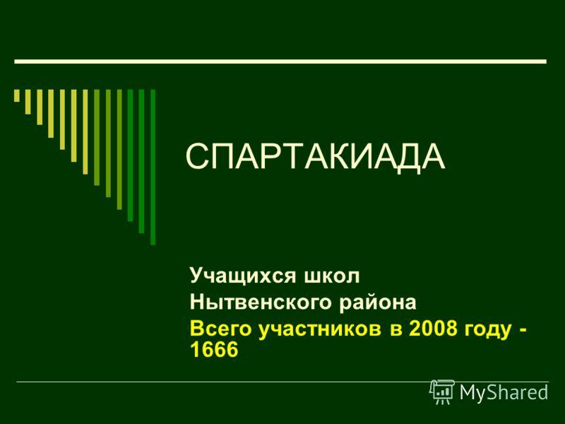 СПАРТАКИАДА Учащихся школ Нытвенского района Всего участников в 2008 году - 1666