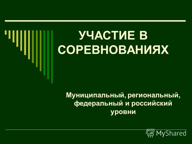 УЧАСТИЕ В СОРЕВНОВАНИЯХ Муниципальный, региональный, федеральный и российский уровни