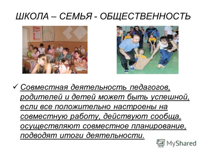 ШКОЛА – СЕМЬЯ - ОБЩЕСТВЕННОСТЬ Совместная деятельность педагогов, родителей и детей может быть успешной, если все положительно настроены на совместную работу, действуют сообща, осуществляют совместное планирование, подводят итоги деятельности.