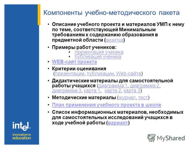 Компоненты учебно-методического пакета Описание учебного проекта и материалов УМП к нему по теме, соответствующей Минимальным требованиям к содержанию образования в предметной области (визитка)визитка Примеры работ учеников: презентация ученика публи