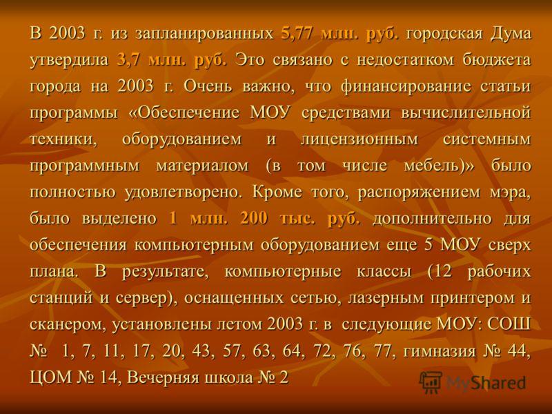 В 2003 г. из запланированных 5,77 млн. руб. городская Дума утвердила 3,7 млн. руб. Это связано с недостатком бюджета города на 2003 г. Очень важно, что финансирование статьи программы «Обеспечение МОУ средствами вычислительной техники, оборудованием