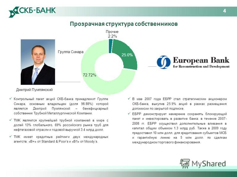 4 Группа Синара Прочие 2.2% Дмитрий Пумпянский Прозрачная структура собственников 72.72% 25.0% Контрольный пакет акций СКБ-банка принадлежит Группе Синара, основным владельцем (доля 98.88%) которой является Дмитрий Пумпянский – бенефициарный собствен