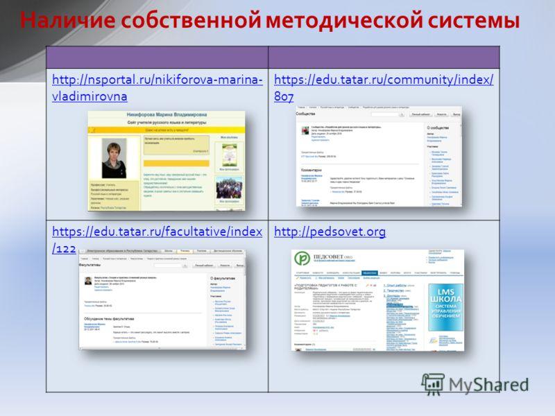 Наличие собственной методической системы http://nsportal.ru/nikiforova-marina- vladimirovna https://edu.tatar.ru/community/index/ 807 https://edu.tatar.ru/facultative/index /122 http://pedsovet.org