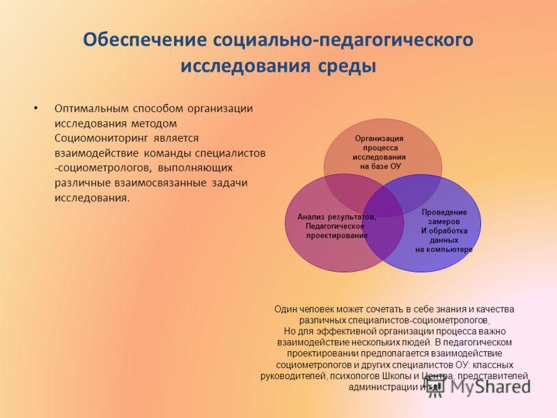 Обеспечение социально-педагогического исследования среды Оптимальным способом организации исследования методом Социомониторинг является взаимодействие команды специалистов -социометрологов, выполняющих различные взаимосвязанные задачи исследования. О