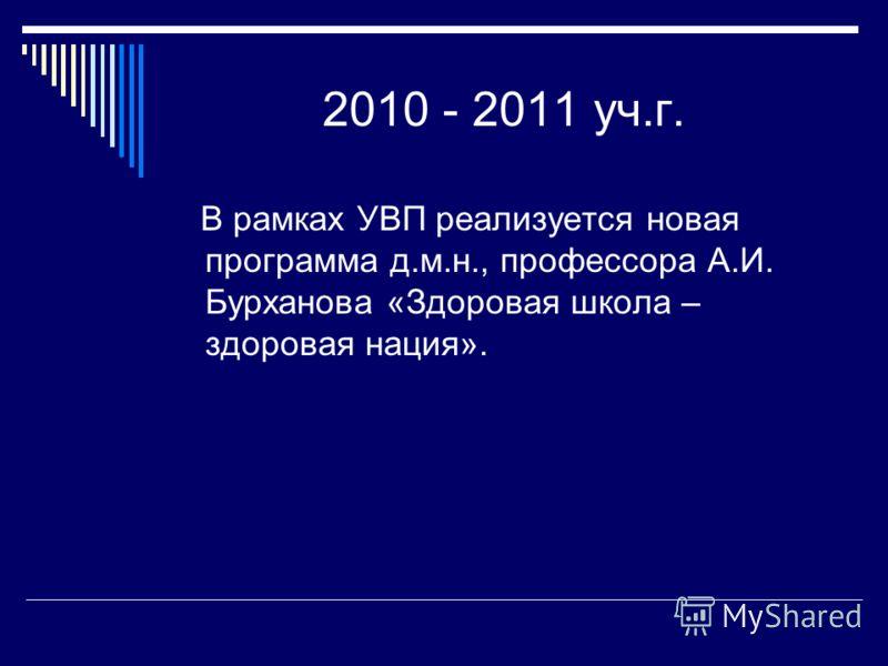 2010 - 2011 уч.г. В рамках УВП реализуется новая программа д.м.н., профессора А.И. Бурханова «Здоровая школа – здоровая нация».