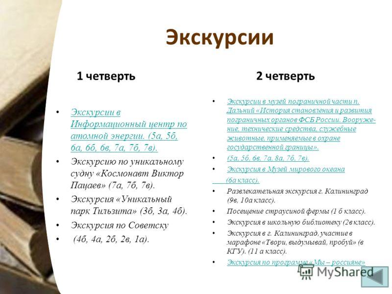 Экскурсии 1 четверть Экскурсии в Информационный центр по атомной энергии. (5а, 5б, 6а, 6б, 6в, 7а, 7б, 7в).Экскурсии в Информационный центр по атомной энергии. (5а, 5б, 6а, 6б, 6в, 7а, 7б, 7в). Экскурсию по уникальному судну «Космонавт Виктор Пацаев»