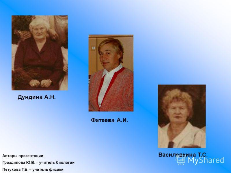Дундина А.Н. Фатеева А.И. Василевкина Т.С. Авторы презентации: Гроздилова Ю.В. – учитель биологии Петухова Т.Б. – учитель физики