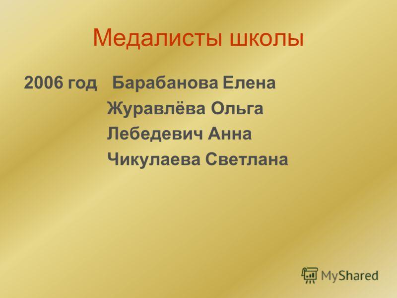 Медалисты школы 2006 год Барабанова Елена Журавлёва Ольга Лебедевич Анна Чикулаева Светлана