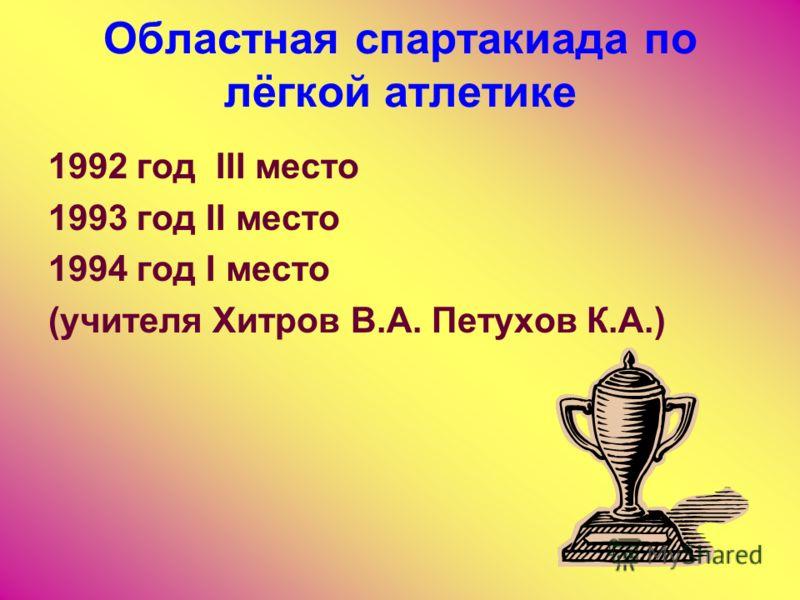Областная спартакиада по лёгкой атлетике 1992 год III место 1993 год II место 1994 год I место (учителя Хитров В.А. Петухов К.А.)