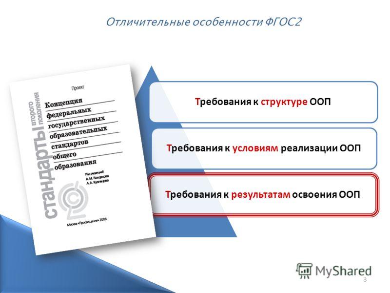 3 Требования к структуре ООПТребования к условиям реализации ООПТребования к результатам освоения ООП Отличительные особенности ФГОС2