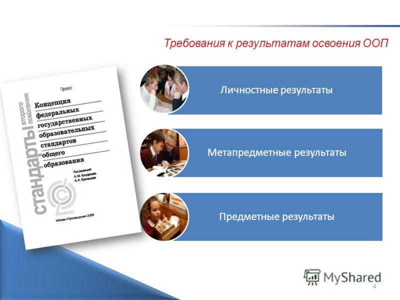 4 Личностные результаты Метапредметные результаты Предметные результаты Требования к результатам освоения ООП