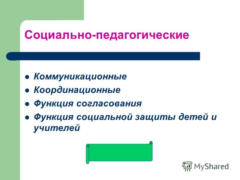 Социально-педагогические Коммуникационные Координационные Функция согласования Функция социальной защиты детей и учителей