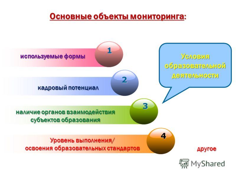 Основные объекты мониторинга: 1 используемые формы 2 кадровый потенциал 3 наличие органов взаимодействия субъектов образования Уровень выполнения/ освоения образовательных стандартов 4 другое Условия образовательной деятельности