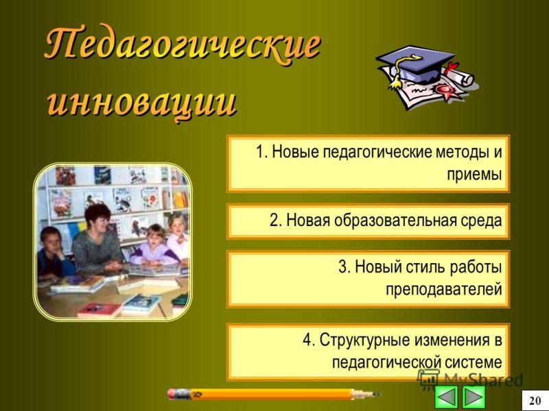 4. Структурные изменения в педагогической системе 2. Новая образовательная среда 3. Новый стиль работы преподавателей 1. Новые педагогические методы и приемы 20