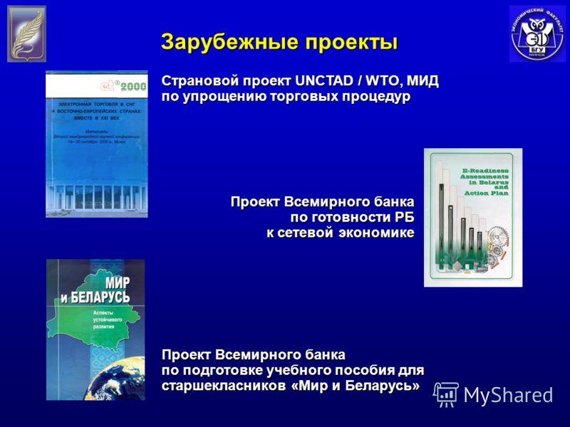 Зарубежные проекты Проект Всемирного банка по подготовке учебного пособия для старшекласников «Мир и Беларусь» Проект Всемирного банка по готовности РБ к сетевой экономике к сетевой экономике Страновой проект UNCTAD / WTO, МИД по упрощению торговых п