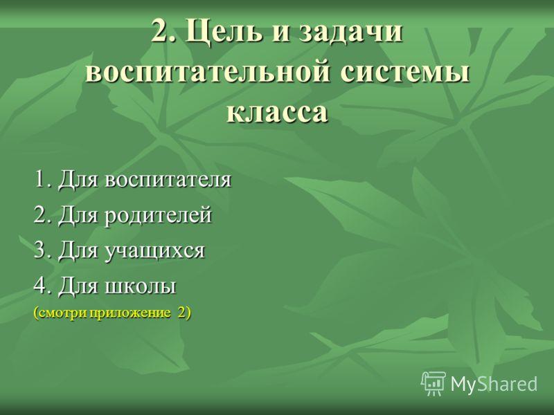 2. Цель и задачи воспитательной системы класса 1. Для воспитателя 2. Для родителей 3. Для учащихся 4. Для школы (смотри приложение 2)