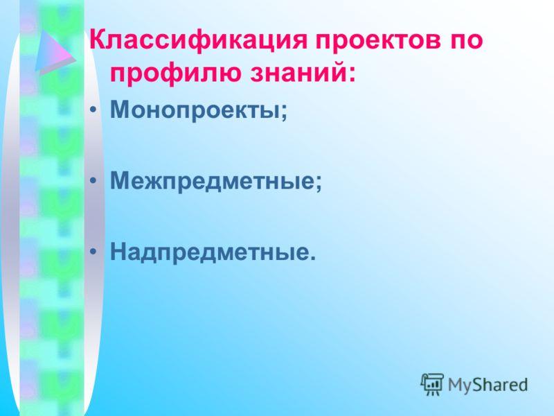 Классификация проектов по профилю знаний: Монопроекты; Межпредметные; Надпредметные.