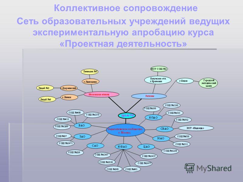 Коллективное сопровождение Сеть образовательных учреждений ведущих экспериментальную апробацию курса «Проектная деятельность»