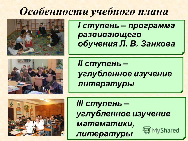 Особенности учебного плана I ступень – программа развивающего обучения Л. В. Занкова II ступень – углубленное изучение литературы III ступень – углубленное изучение математики, литературы