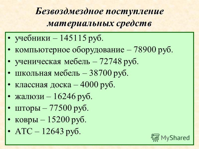 Безвоздмездное поступление материальных средств учебники – 145115 руб. компьютерное оборудование – 78900 руб. ученическая мебель – 72748 руб. школьная мебель – 38700 руб. классная доска – 4000 руб. жалюзи – 16246 руб. шторы – 77500 руб. ковры – 15200