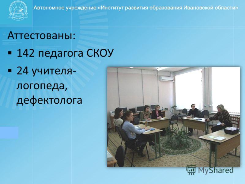 Автономное учреждение « Институт развития образования Ивановской области » Аттестованы: 142 педагога СКОУ 24 учителя- логопеда, дефектолога