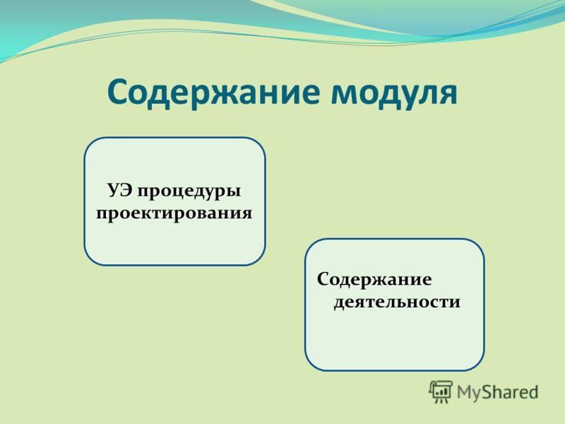 Содержание модуля УЭ процедуры проектирования Содержание деятельности