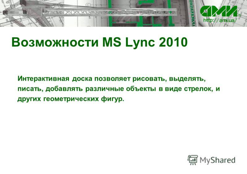 Возможности MS Lync 2010 Интерактивная доска позволяет рисовать, выделять, писать, добавлять различные объекты в виде стрелок, и других геометрических фигур.