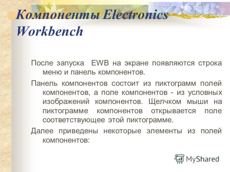 Компоненты Electronics Workbench После запуска EWB на экране появляются строка меню и панель компонентов. Панель компонентов состоит из пиктограмм полей компонентов, а поле компонентов - из условных изображений компонентов. Щелчком мыши на пиктограмм