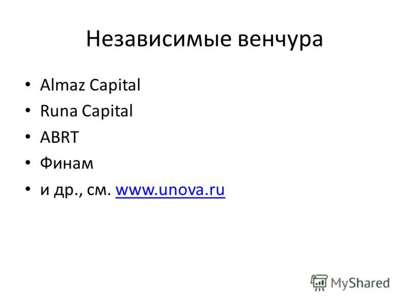 Независимые венчура Almaz Capital Runa Capital ABRT Финам и др., см. www.unova.ruwww.unova.ru