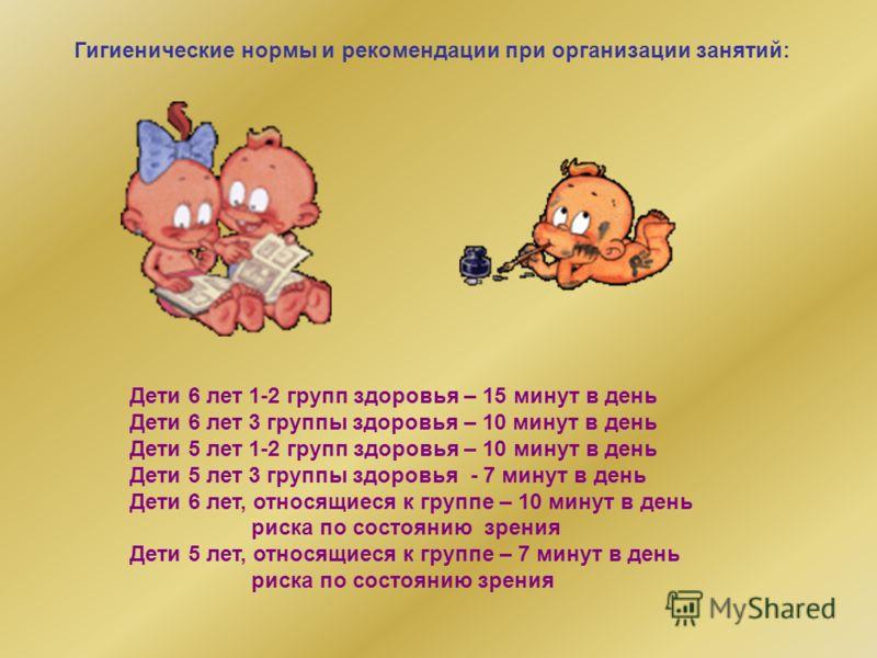 Гигиенические нормы и рекомендации при организации занятий: Дети 6 лет 1-2 групп здоровья – 15 минут в день Дети 6 лет 3 группы здоровья – 10 минут в день Дети 5 лет 1-2 групп здоровья – 10 минут в день Дети 5 лет 3 группы здоровья - 7 минут в день Д
