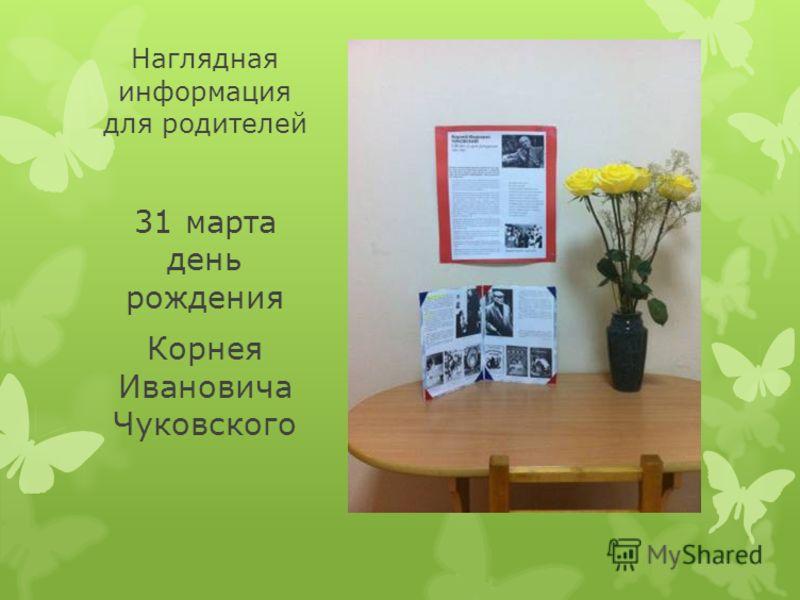 Наглядная информация для родителей 31 марта день рождения Корнея Ивановича Чуковского