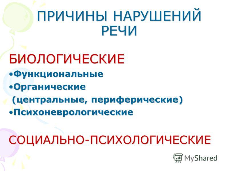 ПРИЧИНЫ НАРУШЕНИЙ РЕЧИ БИОЛОГИЧЕСКИЕ ФункциональныеФункциональные ОрганическиеОрганические (центральные, периферические) (центральные, периферические) ПсихоневрологическиеПсихоневрологическиеСОЦИАЛЬНО-ПСИХОЛОГИЧЕСКИЕ