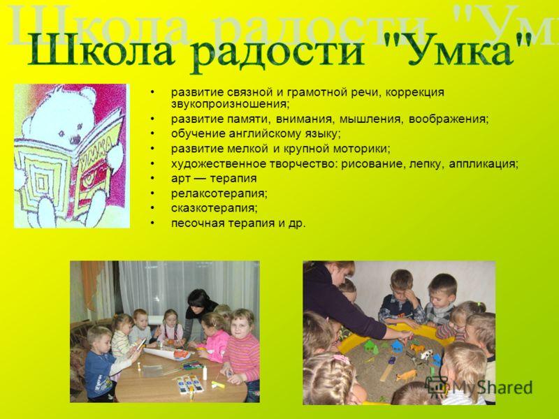 развитие связной и грамотной речи, коррекция звукопроизношения; развитие памяти, внимания, мышления, воображения; обучение английскому языку; развитие мелкой и крупной моторики; художественное творчество: рисование, лепку, аппликация; арт терапия рел