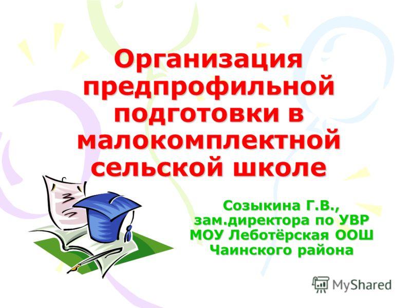 Организация предпрофильной подготовки в малокомплектной сельской школе Созыкина Г.В., зам.директора по УВР МОУ Леботёрская ООШ Чаинского района