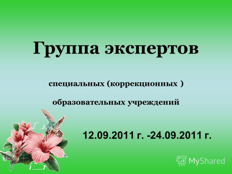 Группа экспертов специальных (коррекционных ) образовательных учреждений 12.09.2011 г. -24.09.2011 г.