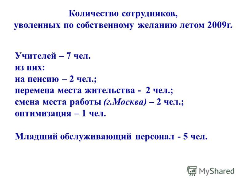 Количество сотрудников, уволенных по собственному желанию летом 2009г. Учителей – 7 чел. из них: на пенсию – 2 чел.; перемена места жительства - 2 чел.; смена места работы (г.Москва) – 2 чел.; оптимизация – 1 чел. Младший обслуживающий персонал - 5 ч