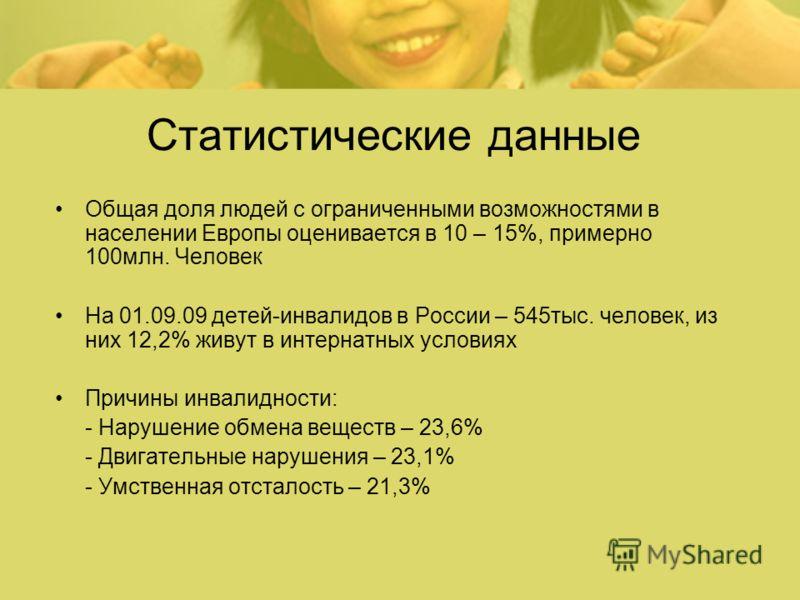 Статистические данные Общая доля людей с ограниченными возможностями в населении Европы оценивается в 10 – 15%, примерно 100млн. Человек На 01.09.09 детей-инвалидов в России – 545тыс. человек, из них 12,2% живут в интернатных условиях Причины инвалид