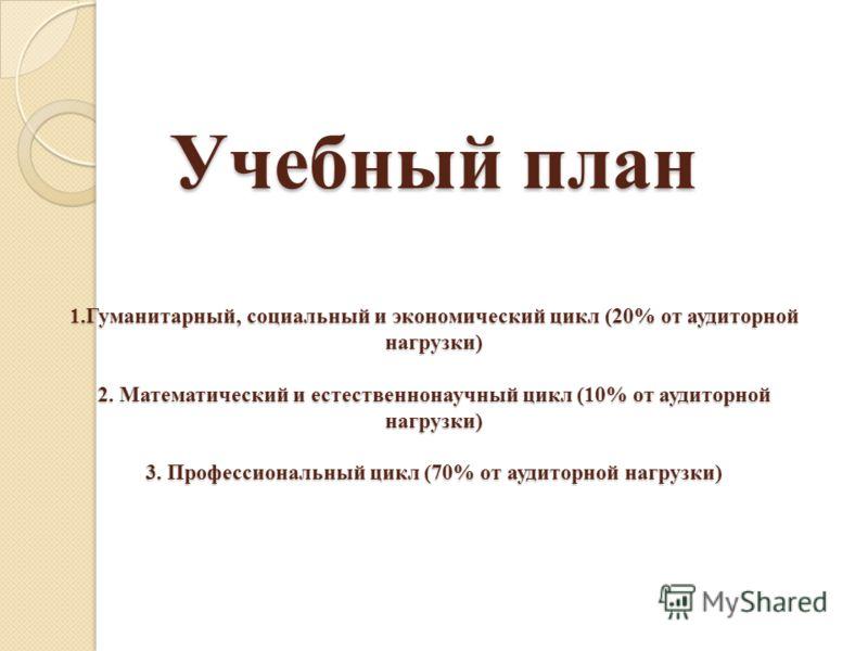 Учебный план 1.Гуманитарный, социальный и экономический цикл (20% от аудиторной нагрузки) 2. Математический и естественнонаучный цикл (10% от аудиторной нагрузки) 3. Профессиональный цикл (70% от аудиторной нагрузки)