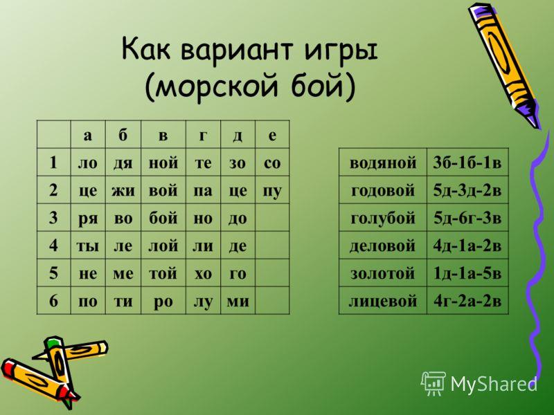 Как вариант игры (морской бой) абвгде 1лодянойтезосоводяной3б-1б-1в 2цеживойпацепугодовой5д-3д-2в 3рявобойнодоголубой5д-6г-3в 4тылелойлидеделовой4д-1а-2в 5неметойхогозолотой1д-1а-5в 6потиролумилицевой4г-2а-2в
