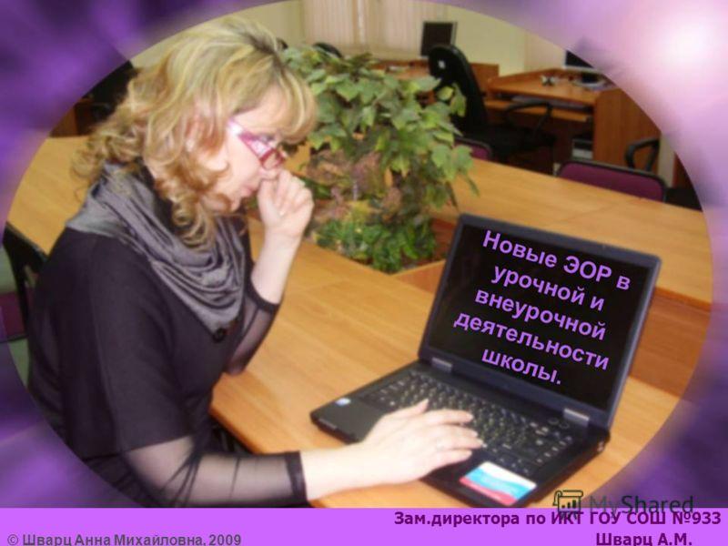 Зам.директора по ИКТ ГОУ СОШ 933 © Шварц Анна Михайловна, 2009 Шварц А.М.