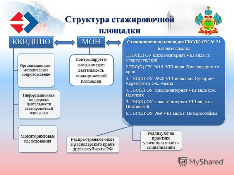 Структура стажировочной площадки Контролирует и координирует деятельность стажировочной площадки