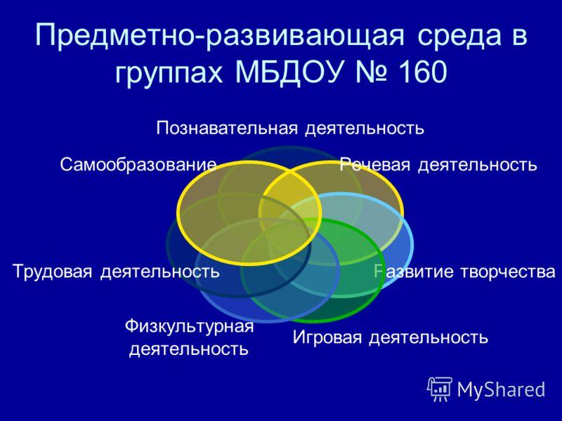 Предметно-развивающая среда в группах МБДОУ 160 Познавательная деятельность Речевая деятельность Развитие творчества Игровая деятельность Физкультурная деятельность Трудовая деятельность Самообразование