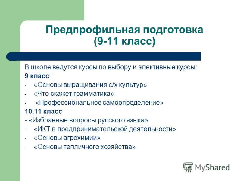 Предпрофильная подготовка (9-11 класс) В школе ведутся курсы по выбору и элективные курсы: 9 класс - «Основы выращивания с/х культур» - «Что скажет грамматика» - «Профессиональное самоопределение» 10,11 класс - «Избранные вопросы русского языка» - «И