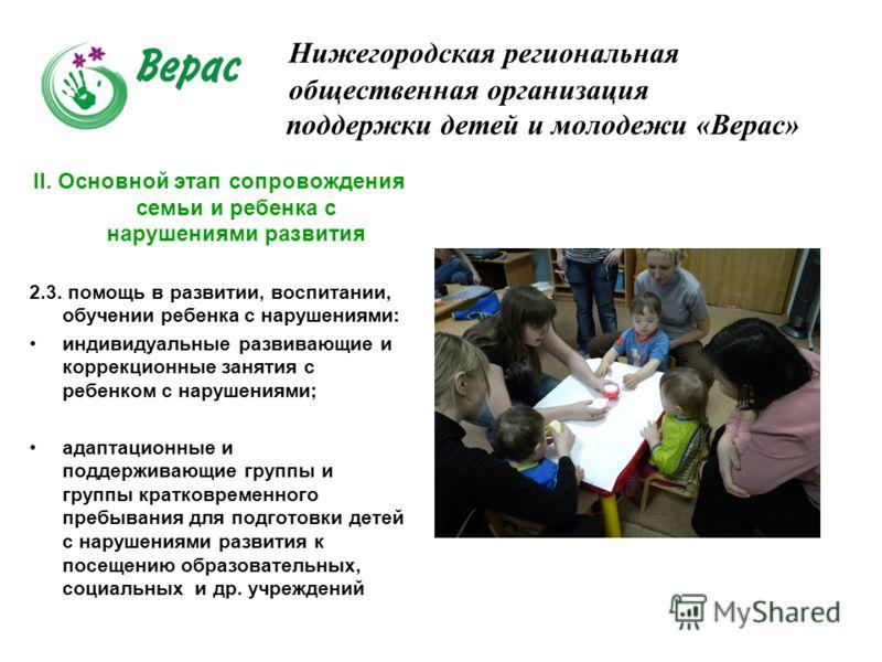 Нижегородская региональная общественная организация поддержки детей и молодежи «Верас» II. Основной этап сопровождения семьи и ребенка с нарушениями развития 2.3. помощь в развитии, воспитании, обучении ребенка с нарушениями: индивидуальные развивающ