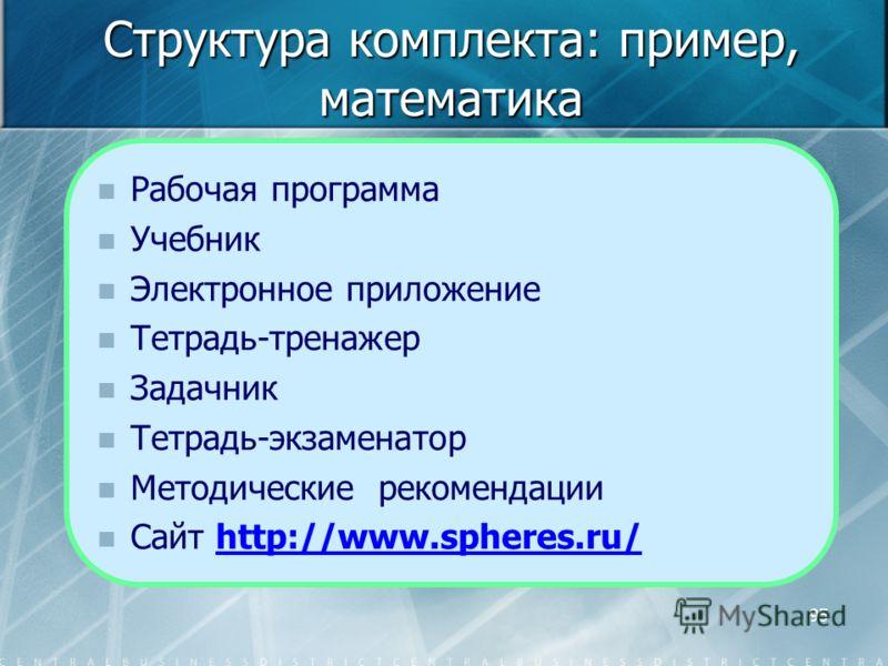 95 Структура комплекта: пример, математика Рабочая программа Учебник Электронное приложение Тетрадь-тренажер Задачник Тетрадь-экзаменатор Методические рекомендации Сайт http://www.spheres.ru/