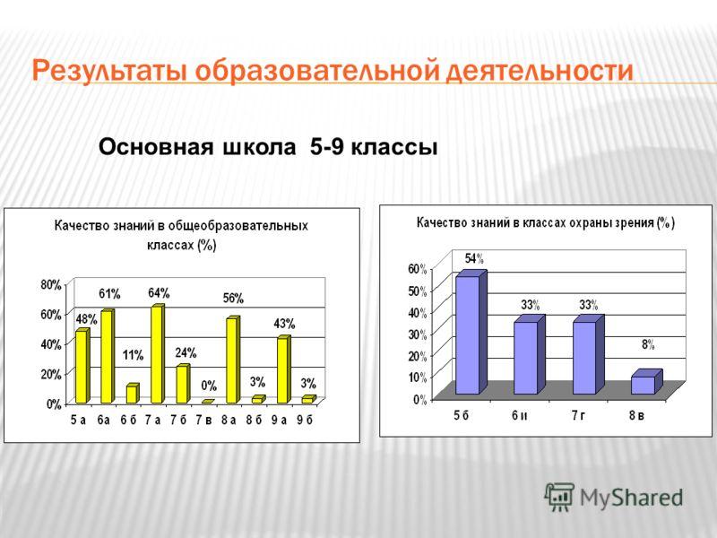 Результаты образовательной деятельности Основная школа 5-9 классы