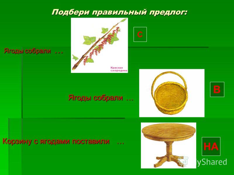 Подбери правильный предлог: Ягоды собрали … Ягоды собрали … Корзину с ягодами поставили … С В НА