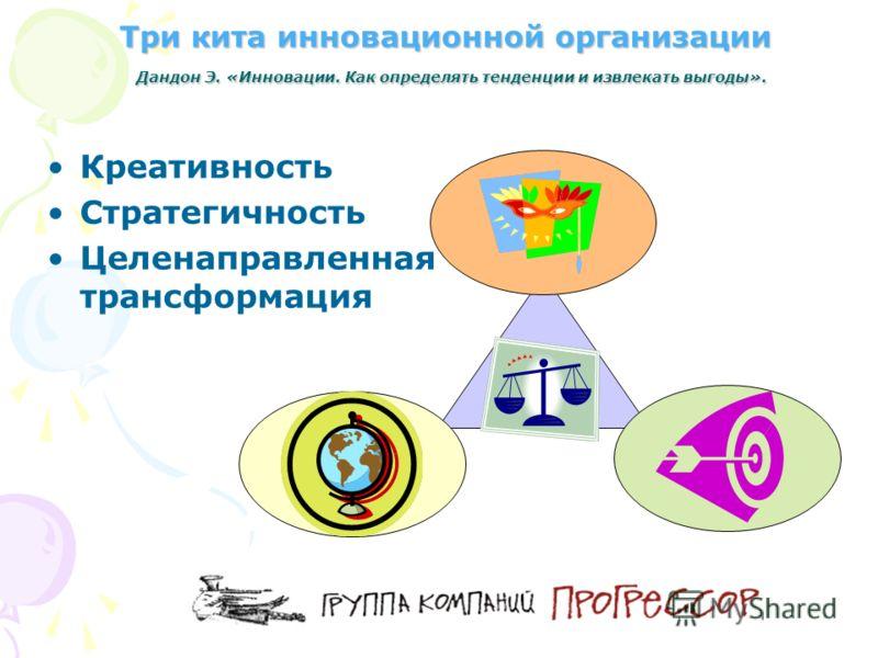 Три кита инновационной организации Дандон Э. «Инновации. Как определять тенденции и извлекать выгоды». Креативность Стратегичность Целенаправленная трансформация