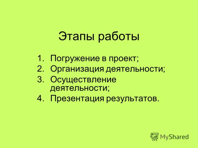 Этапы работы 1.Погружение в проект; 2.Организация деятельности; 3.Осуществление деятельности; 4.Презентация результатов.