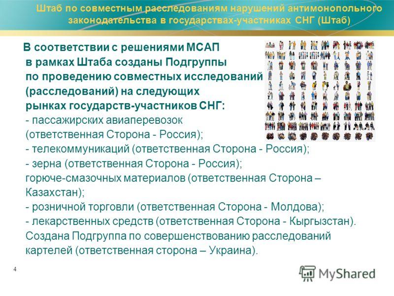 4 В соответствии с решениями МСАП в рамках Штаба созданы Подгруппы по проведению совместных исследований (расследований) на следующих рынках государств-участников СНГ: - пассажирских авиаперевозок (ответственная Сторона - Россия); - телекоммуникаций